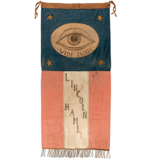 Hand-painted, hand-stitched 1860 Abraham Lincoln and Hannibal Hamlin parade banner used by youthful political activists known as the 'Wide Awakes.' Exceedingly rare and well preserved.  Fresh to the market after 30 years in a private collection.  Opening bid: $10,000