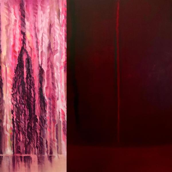 Christina Craemer large scale Photo-realist Waterfall juxtaposition Abstract Expression of Todd Williamson