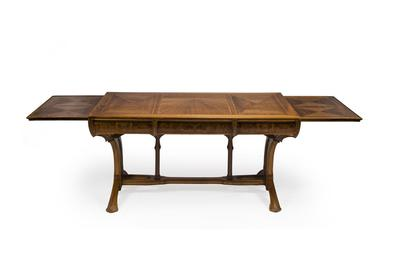 A Lucien Lévy-Dhurmer and Edouard Collet carved and burled walnut parquetry extension desk Designed for the Library of the Auguste Rateau residence