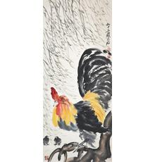 Qi Baishi Rooster and Young Hanging Scroll, Ink & Color on Paper.  Lot 90.  Gianguan Auctions, June 10.