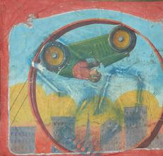 """This vintage Nieman Eisman sideshow or circus banner (est $1/1,500), Twentieth Century, American, depicts a monkey driving a racecar inside a wheel, stenciled lower right """"Nieman Studios,"""" 92 by 115 inches.  Eisman was a renowned banner painter in the Chicago style of sideshow banner painting, actively painting banners from the 1920s to the mid-1950s."""