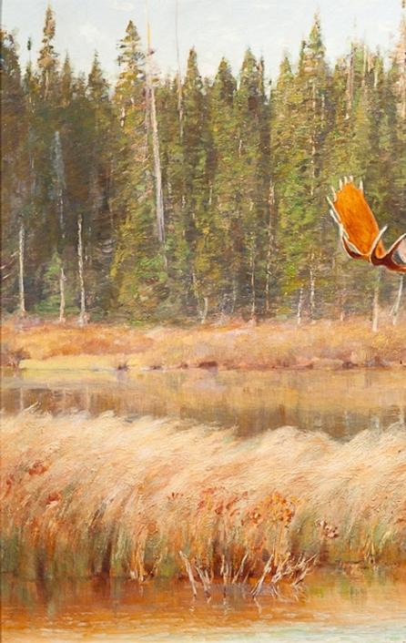 Carl Clemens Moritz Rungius (1869-1959) Bull Moose, oil on canvas, 23 1/4 by 35 1/2 inches, Estimate: $150,000-$250,000