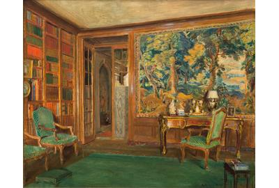 "Walter Gay (American, 1856-1937), ""The Library of Mrs.  Oliver Gould Jennings"", oil on canvas, 18 1/2 x 21 1/2 in., estimate: $20,000-40,000"