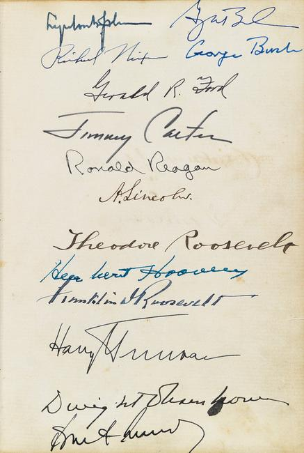 Album with more than 130 Civil War-era signatures, including Abraham Lincoln and his cabinet, and signed by 18 Presidents, 1864-2010.  At auction November 1, 2016.  Estimate $60,000 to $90,000.