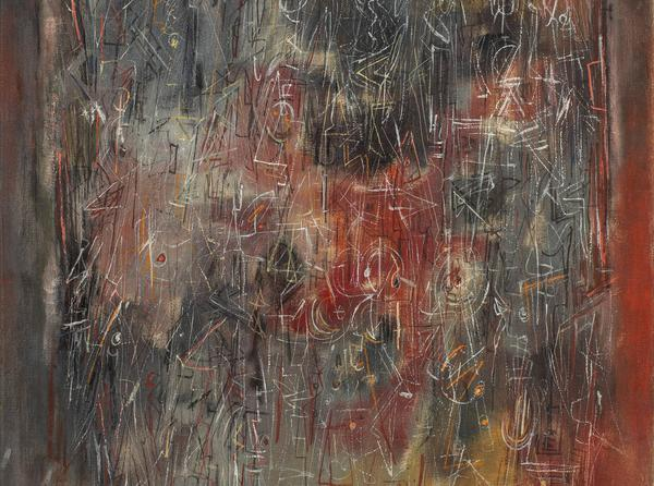 Norman Lewis (1909-1979), Multitudes (detail), 1946, oil on canvas, 39 1/4 x 26 1/2 inches / 100 x 67.3 cm, signed
