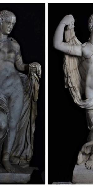Aphrodite, (first century A.D.).  White marble.  Before (left) and after (right) restoration.  Photo courtesy of Friends of Florence.