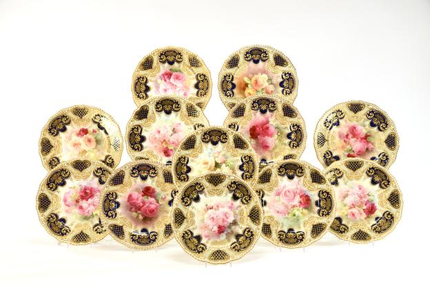 Set of 12 Royal Doulton Hand Painted Dinner/Cabinet Plates, Artist Signed Curnock with raised paste gold, ca.  1910