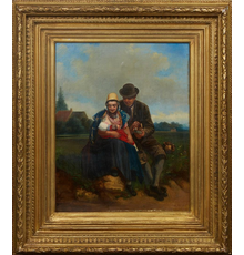 Oil on canvas board painting by Adolf Dillens (Belgian, 1821-1877), titled Family, signed lower right and measuring 21 ½ inches by 16 ¾ inches (est.  $1,500-$2,500).