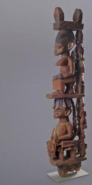 Agunna of Oke Igbira (d.  circa 1930), Yoruba culture, Nigeria, Veranda Post, early 20th century, wood, pigment, Museum Purchase, Lawrence Archer Wachs Fund, 2003.271