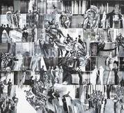 Ahmad Moualla, Tribute to Mahmoud Darwish, 2011, Mixed media on canvas, 440 x 400 cm