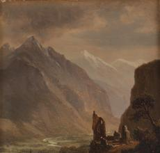 Oil on panel landscape painting by Albert Bierstadt (German-American, 1830-1901), titled Valley of Meringen (sic), Switzerland (1858), inscribed with location and artist's name ($8,750).