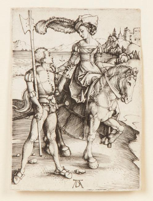 This fine, early impression engraving by Albrecht Durer (Germ., 1471-1528), titled Young Lady on Horseback, will be sold Sept.  26-27.