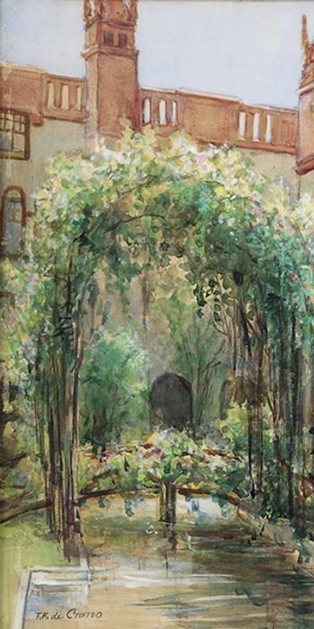 "Felix F.  de Crano, Alcazar Courtyard, watercolor on paper, 18.25""h x 13.75""w collection of Lightner Museum (Gift of Clarissa Anderson Gibbs)"