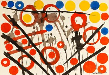 Gouache and ink on paper by Alexander Calder (American, 1898-1976), titled Loose Yolks (est.  $50,000-$80,000), from the David Findlay Jr.  Gallery in New York.