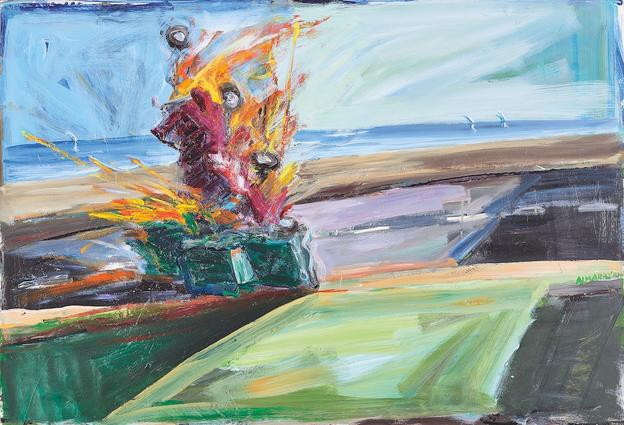 Carlos Almaraz, Untitled (Car Crash), 1987, Oil on paperboard, 33.5 x 48.25 inches, Museum Purchase with Charter Member Endowment.  Collection of the Nora Eccles Harrison Museum of Art, Utah State University