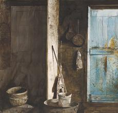 Andrew Wyeth, Alvaro and Christina, 1968, Watercolor on paper, 22.50 x 28.75 inches, Collection of the Farnsworth Art Museum