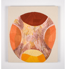 Amanda Valdez, Hog Wild, 2018.  Embroidery and oil stick on mounted paper and canvas.  Collection of Lynda and Nigel Greig.