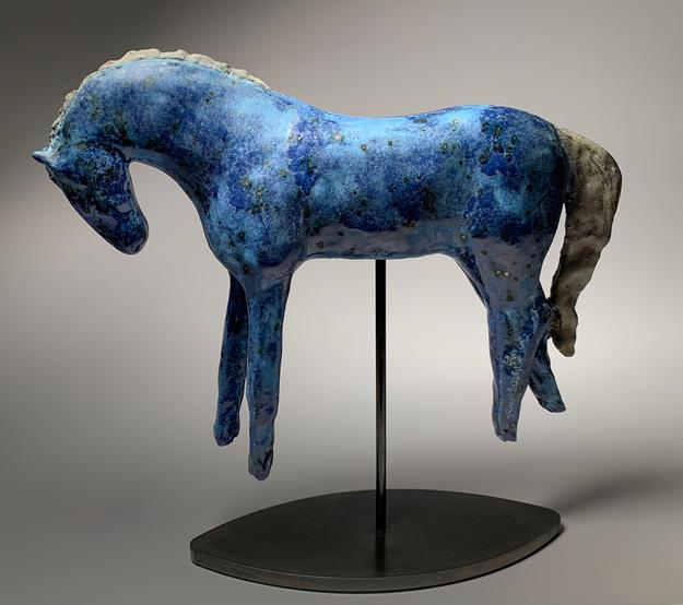"Amy Laugesen, ""Show Pony,"" Ceramic on Steel Base, 9.50 x 8.50 x 3 in"