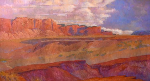 "Andy Taylor, ""Flying South,"" Oil on Linen, 33 x 60 in"