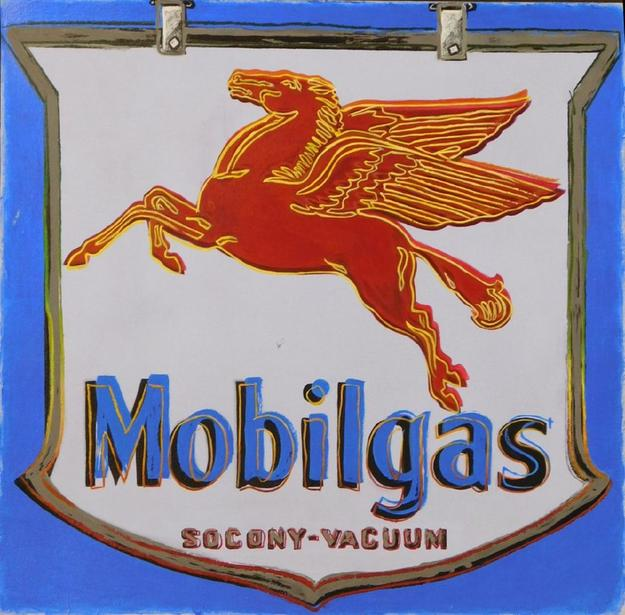 Acrylic paint on heavy weight paper attributed to Andy Warhol (Am., 1928-1987), a stylized rendering of the iconic Mobilgas logo (est.  $30,000-$50,000)