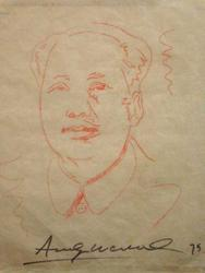 Andy Warhol will make multiple appearances in the auction, including this crayon sketch on thin tan paper of Chinese leader Chairman Mao (1975), a signed attribution (est.  $80,000-$120,000).