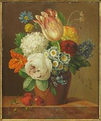 Oil on panel Still Life with Flowers, Strawberries and a Cherry, by Anthony Oberman (Dutch, 1781-1845), signed lower right (est.  $8,000-$12,000).