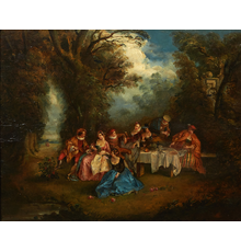 Unsigned 18th century oil on board painted in the manner of Antoine Watteau (French, 1684-1721), titled Fete Galante Picnic, 17 ½ inches tall by 21 ¼ inches wide (estimate: 3,000-$5,000).