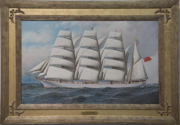Oil on canvas portrait of the ship Benares by the renowned marine artist Antonio Jacobsen (1850-1921), 22 inches by 36 inches.