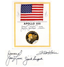 United States flag flown aboard the Apollo XIII space mission in 1970, with a NASA certificate signed by all three astronaut crew members (est.  $18,000-$20,000).