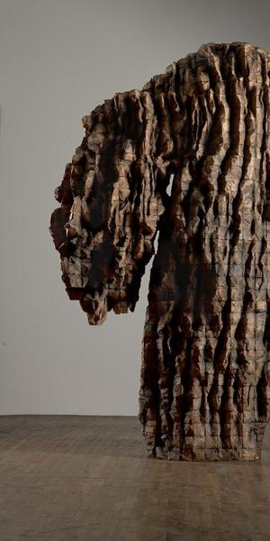 Ursula von Rydingsvard, For Natasha, 2015; Cedar and graphite, 9 ft.  1 in.  x 6 ft.  7 in.  x 3 ft.  6 in.; © Ursula von Rydingsvard, Courtesy of Galerie Lelong & Co.; Photo by Michael Bodycomb