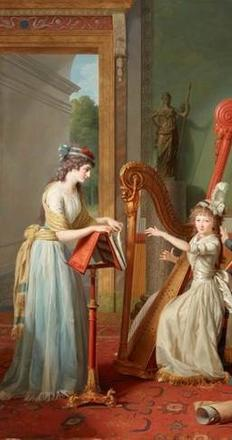 Jean Antoine Theodore Giroust, The Harp Lesson (La leçon de harpe), 1791, oil on canvas, Dallas Museum of Art, Foundation for the Arts Collection, Mrs.  John B.  O'Hara Fund