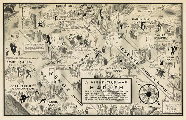 E.  Simms Campbell's A Night-Club Map of Harlem, pen and brush, 1932.