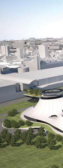 A draft rendering of the Lucas Museum on the McCormick Place East site on Chicago's lakefront