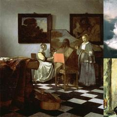"Missing from the Gardner Museum are Vermeer's ""The Concert"" (1658–1660), Rembrandt's only seascape, ""Storm on the Sea of Galilee (1633), and Edouard Manet's ""Chez Tortoni"" (1878–1880."