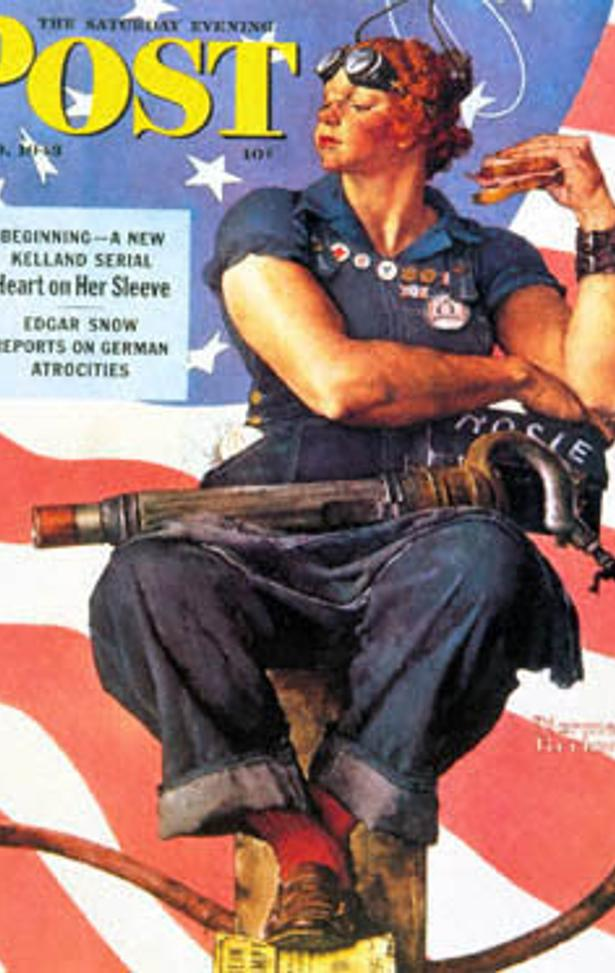Rockwell's 1943 Saturday Evening Post cover featuring Rosie the Riveter