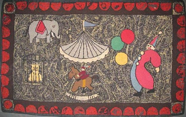 CIRCUS HOOKED RUG with a clowns and animals, c.  1940s.  wool