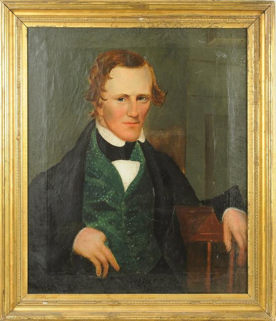 "A recently discovered oil on canvas folk art portrait of a gentleman, signed on the back ""Painted by A.L.  Powers"" with illegible date, for Asahel Lynde Powers (1813 - 1843) , the frame size 34"" high, 29 1/2"" wide."