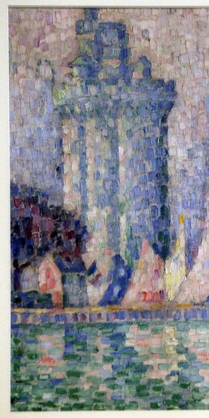 "The 1915 painting ""Port of La Rochelle"" by Paul Signac, that was stolen from the Museum of Fine Arts in Nancy, France, last year, shown at a briefing on April 23, 2019, at the Interior Ministry in Kiev, Ukraine."