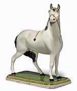 Massive Leeds Pottery Pearlware horse, Circa 1820-30.  From Earle Vandekar of Knightsbridge.