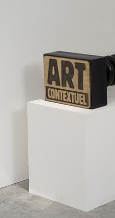 Lucy + Jorge Orta, Manifesto Stamp - Contextuel Art, 1984-2014.  120 x 50 x 60 cm.  Polychrome wood, base engraved in bronze.  Copyright: galerie Valérie Bach