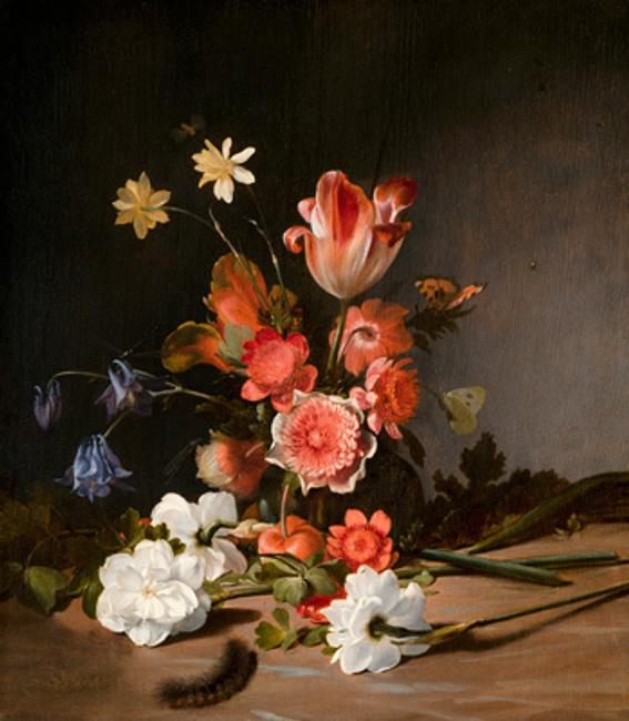 Dirck de Bray (c.1635-1694), Still Life of a Bouquet in the Making, 1674, panel 40.5 x 35.7 cm Royal Picture Gallery Mauritshuis, The Hague (New Acquisition)