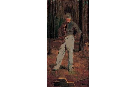 Winslow Homer (American, 1836–1910), Trooper Meditating Beside a Grave, ca.  1865, oil on canvas, Gift of Dr.  Harold Gifford and Ann Gifford Forbes, 1960.298