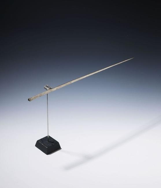 George Rickey, No title (Single line).  1964 Kinetic sculpture.  Stainless steel, smoothed 22,5 x 47 x 6,5 cm (8.8 x 18.5 x 2.5 in) Estimate: € 10.000-15.000.