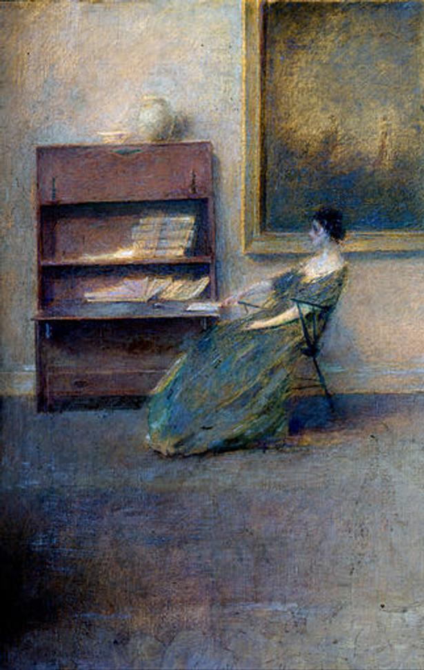 THOMAS WILMER DEWING, The White Dress.  Oil on canvas.
