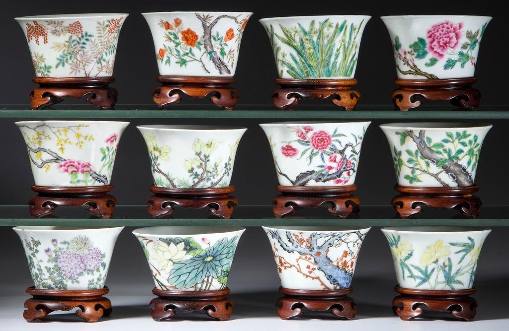 Complete set of Chinese Export Famille Rose 12 Months Porcelain Tea Bowls and Stands, Republic Period.