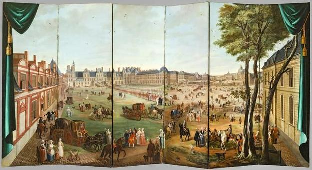 An 18th-century folding screen by Charles Cozette, in the exhibition 'Visitors to Versailles' at the Met.