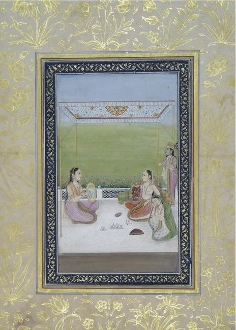 Women on a Terrace, Vilavail ragini from a Ragamala series, Mughal, Lucknow, India ca.1770-80.