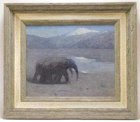 Oil on canvas by Arthur Wardle (U.K., 1864-1949), of two elephants walking side by side beside water in the moonlight, 14 inches by 17 inches (sight) (est.  $1,000-$2,000).