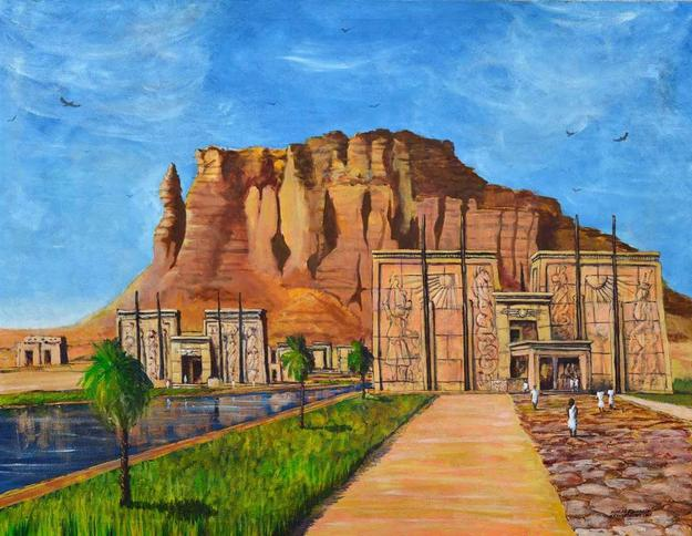 Ashraf Elsharif, Temple at Barkal, Acrylic & Oil on Canvas, 35.5'' x 46''