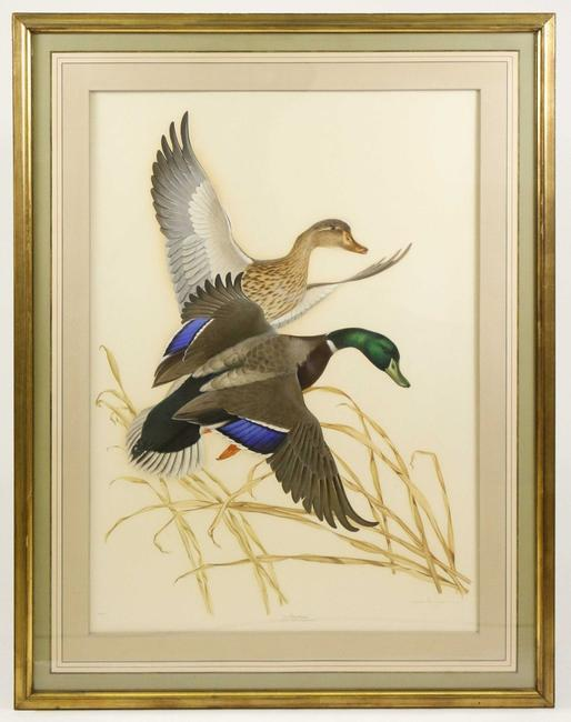 Two paintings of ducks in flight by Athos Menaboni, including this one shown, sold for $10,000 and $9,000 at Ahlers & Ogletree's Feb.  8 Winter Estates Auction.